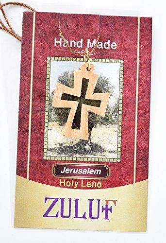Edelstahl Charms Halskette Kreuz Kruzifix Geschenkverpackung aus Olivenholz handgeschnitzt In Bethlehem Israel (OW-PEN-024)