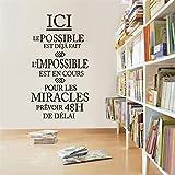 ONETOTOP Citas de inspiración Francesa L'impossible EST en Cours Vinyl Cut Decal Wall Sticker Mural Art Wallpaper Home Office Decoration 42 * 75cm