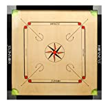 KORNERS Full Size(Large) 32' Inch 6MM Cut Pocket Carrom Board with Coins, Striker, Powder & Carrom Cover (Model- K32CUT03)