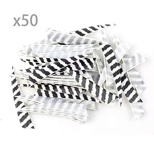 MEJOSER 50 Stück Bogenschießen Naturfedern Federform Saubuckel 4