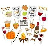 Newin Star 26-teiliges Danksagung Photo Booth Props Thanksgiving Day Foto Requisten Dekorationen Party-Bevorzugung Erntefest Party Supplies