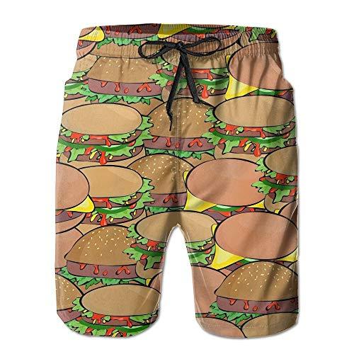 ZHIZIQIU Men's Shorts Swim Beach Trunk Summer Hamburgers Athletic - M -