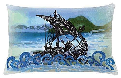 Cushion Cover, Drekar Boat Vikings Ship Bearded Warrior with Axe Swirled Sea Waves Artwork, Decorative Square Accent Pillow Case, 18 X 18 Inches, Blue Black Green ()