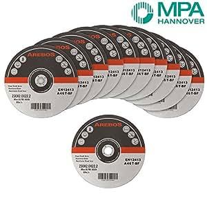 AREBOS Assortiment de 50 disques à tronçonner à moyeu déporté pour Métaux Diamètre 230 mm Diamètre d'alésage 22,23 Epaisseur 2,0 mm 50 disques