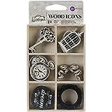Prima Marketing Epiphany cortado con láser de madera iconos en una caja 24pieces-6diseños