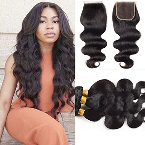 "Full Shine Gewellt Body Wave Haar-Schub Brazilian Unprocessed Human Hair Gemischte Hair Weft mit 4*4"" 30CM Free Part Lace Closure Naturschwarz 1B 300g (20\""20\""20\""+14\"" Lace Closure 4*4zoll) Free Part Lace Closure mit Baby Haar Naturlich Hairline"