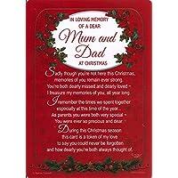 "Loving Memory Christmas Graveside Memorial Card - Dear Mum & Dad 5.75"" x 4"""
