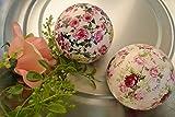 Schwimmkugel -2 Stück- Schwimmkugel Rosen für den Teich , D= 7 cm-hübsche Dekokugeln mit Rosen aus Keramik-stabile Ausführung - 2 St. in einer Packung für Haus und Garten