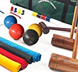 Garden Games Longworth 4 Player Croquet Set - UPGRADED- Full Sized Adult Set in Canvas Storage Bag