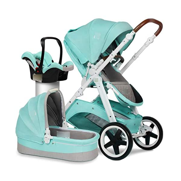 Baby Stroller Portable Seat High Landscape Stroller European Two-way Shock Absorber Trolley Folding (Color : BLUE, Size : 107 * 60 * 66CM) Strollers Zhangsisi ☻【Scope of use】Twin strollers for urban and rural multi-purpose trolley bearing an amazing amount of public plate, and comfortable to use, powerful ☻【powerful functions】 Convenient for travel and driving, our baby car is easy to fold, small footprint, single wheel suspension, front tray, accessories, adjustable seat angle, sturdy frame with adjustable seat adjustment and comfortable fit baby chair. ☻【safe and comfort】 Baby can not afford to hurt, the most important health, safety and comfort, a key release of 5-point seat belts. 4