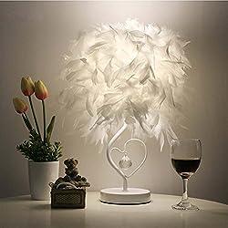 LEDMOMO Lectura de cabecera sala sala de estar en forma de corazón pluma de luz de lámpara de mesa de cristal con enchufe de la UE