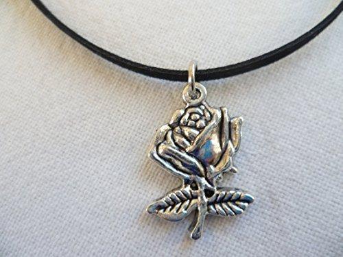 Rose Choker, Rose, Halskette, Rose Blume Charm, Wildleder, Choker, Silber Rose, Choker, Anhänger, Floral, Geschenk -