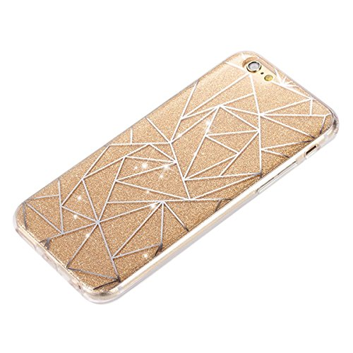 iPhone 7 Bling Coque,iPhone 7 Case,iPhone 7 Etui - Felfy Ultra Mince Silicone Gel TPU Housse Bling Shiny Sparkle Glitter étoile Placage Coque Housse de Protection Etui Anti Scratch Case Cover Case Bum losange Or