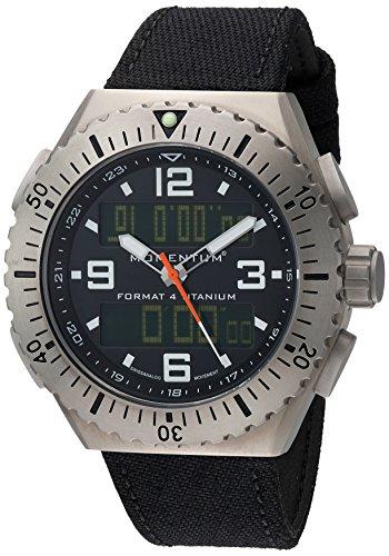 Momentum Men's 'Format 4' Swiss Quartz Titanium and Canvas Diving Watch, Color:Black (Model: 1M-SP24B6B)