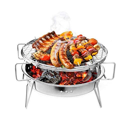 Qnlly Tragbare Grill Edelstahl Terrasse Camping Picknick Kochherd Tabletop Outdoor Edelstahl Raucher BBQ für Picknick Garten Terrasse Camping Reise,M -