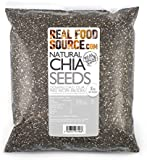 RealFoodSource Whole Natural Dark Chia Seeds 2kg (2 x 1kg bags) with FREE Chia Recipe Ebook