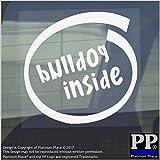 1x Bulldog inside-window, Auto, Van, Aufkleber, Schild, selbstklebend, Hund, Haustier, auf, Board, Englisch, Französisch, Motiv: Frenchie, Guard, Warnung,...