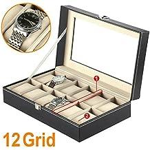 Mbuynow, Estuche Para Relojes, Caja Para Reloj 12 Compartimentos, Color Negro