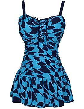 Damen Retro Paisley Badekleid Große Größen Einteiliger Badeanzug Bauchweg Bademode