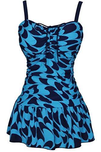 Luxus Badeanzüge (Damen Retro Paisley Badekleid Große Größen Einteiliger Badeanzug Bauchweg Bademode, Größe DE 50/Etikettengröße 62, Farbe Hellblau)