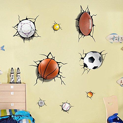 Wandbild ZOZOSO Europäische Und Amerikanische Qualität 3D Gebrochen Wand, Basketball Aufkleber, Selbstklebende Tv-Wanddekoration, Kreative Malerei Wandaufkleber