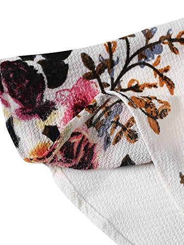 Simplee Apparel Damen Sommer Jumpsuit Elegant Blumen Floral Shulterfrei Klied Playsuit Chiffon Overall Romper mit Rüschen Weiß Weiß