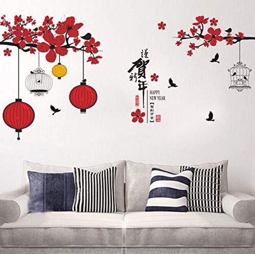 YzybzChinesische Frühlingsfest Baum Laterne Vögel Blume Wandaufkleber Wohnzimmer Fenster Neue Jahr Wandtattoos Pvc Poster
