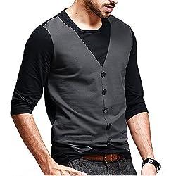 Seven Rocks Men's Waist Coat Style Cotton Black Tshirt(Medium)