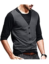 Seven Rocks Men's Waist Coat Style Cotton Black Tshirt