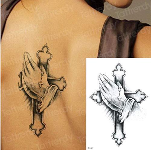 WENSHEN Temporäre Tätowierung Kreuz Halloween Tattoo Wassertransfer One Piece Tattoo Big Body Art Tattoo Zurück Schwarz Tatto 3D Tattoos Aufkleber 21X15Cm (Tattoo Flash Art Halloween)