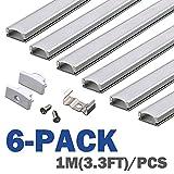 Profilo in Alluminio U-Figura - 6x1MT Profilo LED per Strisce LED,Compatto Finitura Professionale a Alluminio LED con Tappo laterale terminale ,Clip di montaggio,Copertura Opale