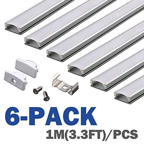 6-pack-1m-33ft-aluminum-led-channel-for-led-strip-lightscompact-professional-finish-u-shape-aluminum