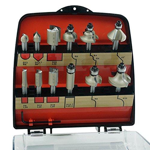 ENT 12-tlg. DURACUT HM Fräser Set in bruchfester Kunststoffkassette - Oberfräser mit Schaft 8 mm - Nutfräser mit HW-Grundschneide zum Einbohren