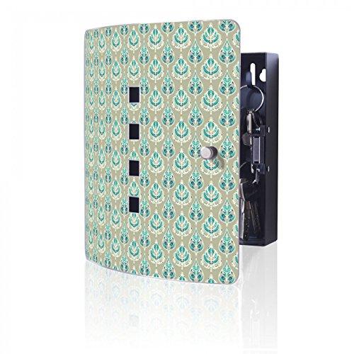 Orientalische Blättern (BANJADO Design Schlüsselkasten aus Edelstahl, 10 Haken für Schlüssel, praktischer Magnetverschluss, 24x21,5cm, Motiv Orientalische Blätter)