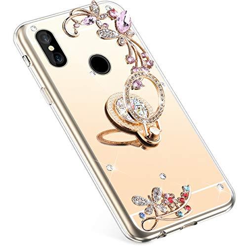 Uposao Kompatibel mit Xiaomi Redmi S2 Hülle Glitzer Spiegel TPU Schutzhülle Bling Strass Diamant Silikon Hülle Glänzend Kristall Blumen Silikon Handyhülle mit Ring Ständer Halter,Gold