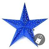 Nipach GmbH Papierstern 3D 10 LED blau Weihnachtsstern Faltstern Batterie mit Timer 5 Zacken Leuchtstern Weihnachtsfaltstern Weihnachtsdeko Fensterdeko Xmas