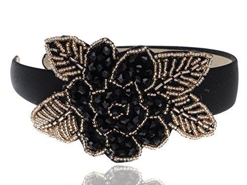 Alilang Intricate Design Single Black Bead Flower Golden Bead Leaves Fashion Headband
