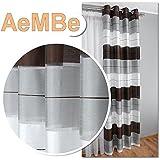 AeMBe - Ojales Cortina Semitransparente - Conjunto - Diseño Superior - Modern - 2 Cortinas en Un Paquete - Blanco / Negro / Gris - La Más Alta Calidad