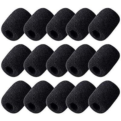 15pcs Foam Microphone Windscreen, Wowot Headset Microphone Sponge Foam Cover Shield Protection, Black