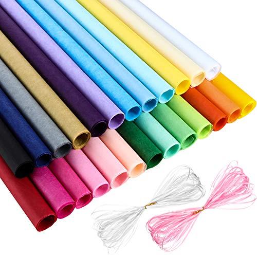 50 Piezas Papel de Seda de Navidad 25 Colores Variados 50 x 70 cm con 2 Piezas de Cinta para Envolver Regalo en Materiales de Fiesta