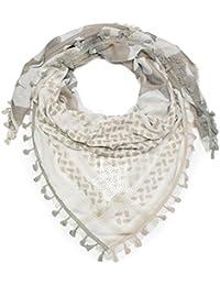 styleBREAKER Foulard carré léger avec motif camouflage mélangé, étoile en  paillettes, glands et franges 1865f3c55115