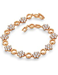 Spargz Rose Gold Plated AD Stone Party Wear Floral Tennis Bracelet ALBR_5002