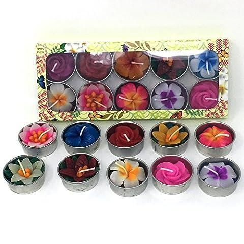 10parfumé Fleur Bougie chauffe-plat Lot par Laeto Home Ensemble de cadeau idéal pour femme 10bougies Unique et fleurs faite à la main en Thaïlande dans une boîte cadeau Thé lumières