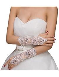 Fashion Plaza lang Spitze Fingerlose Brauthandschuhe mit Perlen für Hochzeit Abendveranstaltung Spezielle Anlässen BG0019