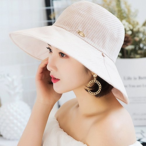 JU FU Sommer Hut, Sonnenhut Frauen Reversible Wear Wide Brim UV-Nachweis Sommer Strand Faltbare Hut Umfang 55-57 cm, 6 Farben Optional | (Farbe : 5#) Reversible Brim Hut