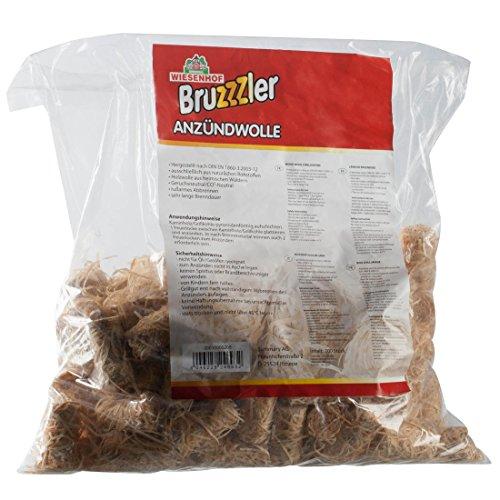 Bruzzzler Anzündwolle, Feueranzünder aus reiner Holzwolle für einfaches Anzünden von Grill, Ofen oder Lagerfeuer, Beutel mit 100 Stück