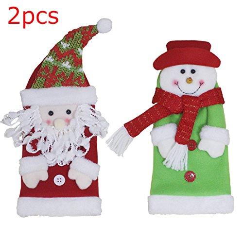2\ 1PS rot Wein Flasche, Staubbeutel Wrap Plüsch Santa Claus Mützen Christmas Ornaments, 1 x satan + 1 x snowman, (Mütze Plüsch Santa)