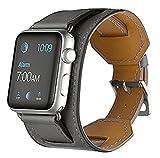 Sanday Bracelet pour AppleWatch Series 3 / 2 / 1,Bracelet de Remplacement Manchette en Cuir Pour Apple Watch 42mm Gris