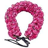 Majik Wedding Accessories Flowers 3D Gajra For Bun Making, 15 Gram, Pack Of 1 (Dark Pink)