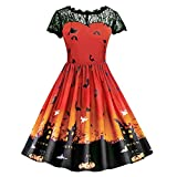 Riou Damen Langarm Halloween Kostüm Top Set Halloween Kleid Damen lang Frauen Kurzarm Halloween Retro Lace Vintage Kleid gruselig Eine Linie Kürbis Swing Partykleid Schwarz Dress (L, Orange)